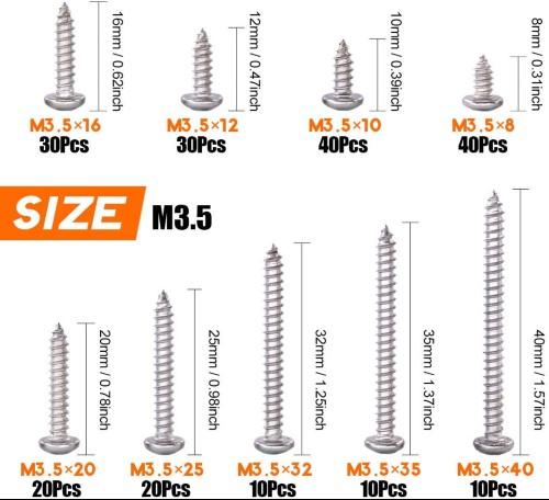 304 Stainless Steel Phillips Flat Head Screws,Driver Slef Tapping Drilling Screws 210 Pcs
